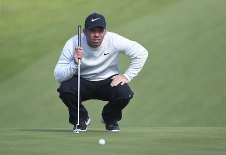 Feb 9, 2019; Pebble Beach, CA, USA; Paul Casey looks over his putt on the 18th green during the third round of the AT&T Pebble Beach Pro-Am golf tournament at Spyglass Hill Golf Course. Mandatory Credit: Michael Madrid-USA TODAY Sports