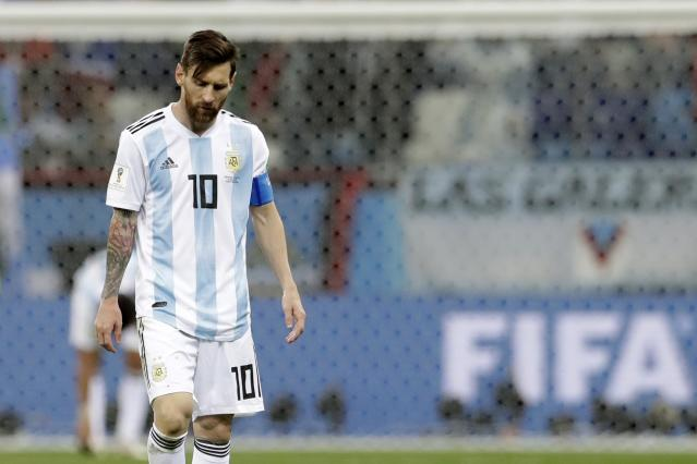 Argentina's Lionel Messi reacts after the group D match between Argentina and Croatia at the 2018 soccer World Cup in Nizhny Novgorod Stadium in Nizhny Novgorod, Russia, Thursday, June 21, 2018. Croatia won 3-0. (AP Photo/Petr David Josek)