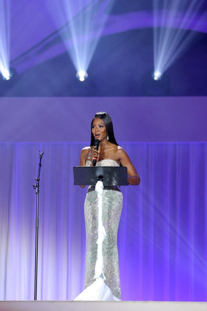 Naomi Campbell gives a speech at the Life Ball