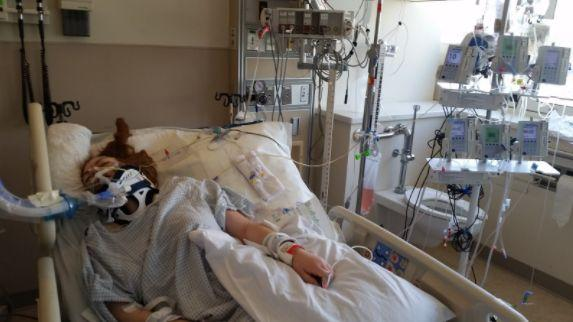 The author in a coma at Santa Clara Valley Medical Center after her fall from a tree in August 2015.