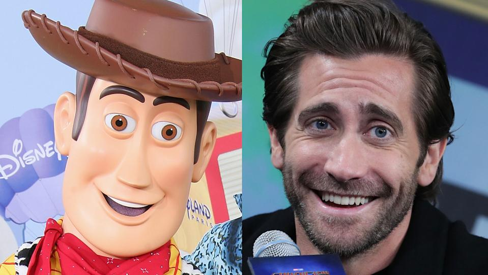 Social media users can see a resemblance between Disneyland's Woody from 'Toy Story' and actor Jake Gyllenhaal. (Credit: Julien Hekimian/Han Myung-Gu/WireImage)