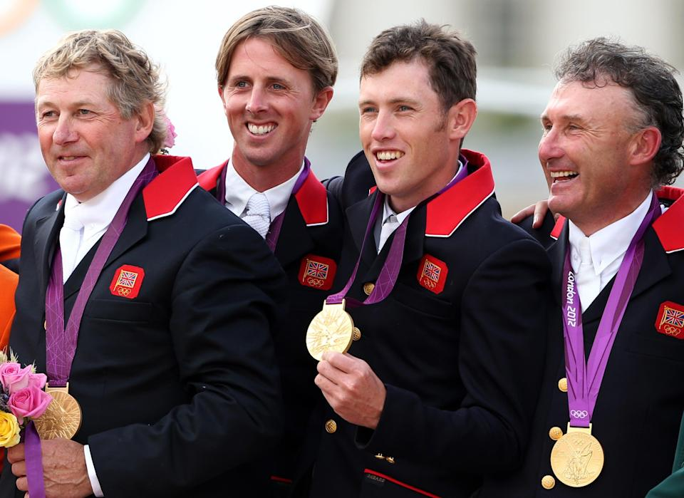 Great Britain's gold medal-winning showjumping team at London 2012 (left to right): Nick Skelton, Ben Maher, Scott Brash, Peter Charles (Andrew Milligan/PA) (PA Wire)