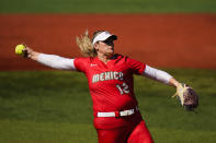 Mexico's Dallas Escobedo pitches during the second inning during a softball game the United States at the 2020 Summer Olympics, Saturday, July 24, 2021, in Yokohama, Japan. (AP Photo/Matt Slocum)