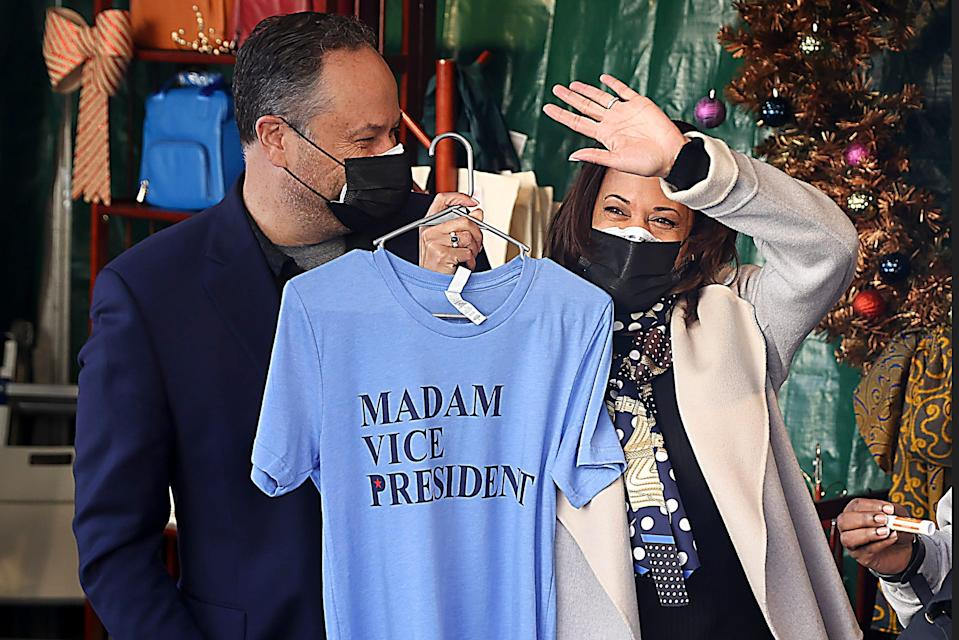 U.S. Vice President-elect Kamala Harris and her husband Doug Emhoff shop in the Downton Holiday Market on November 28, 2020 in Washington, DC. Vice President-Elect Kamala Harris made it point to shop at local shops for small business Saturday.