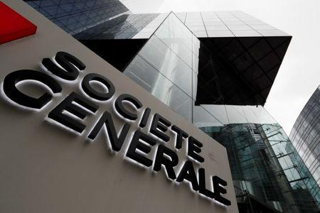 A view shows the logo on the headquarters of French bank Societe Generale at the financial and business district of La Defense near Paris