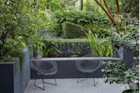 """<p>The best thing you can do to attract wildlife to your garden is to add a pond. Created by Declan Buckley of <a href=""""https://www.buckleydesignassociates.com/"""" rel=""""nofollow noopener"""" target=""""_blank"""" data-ylk=""""slk:Buckley Design Associates"""" class=""""link rapid-noclick-resp"""">Buckley Design Associates</a>, this design fits one into the retaining wall on a short run of steps. Relatively simple to create, it consists of rendered concrete blockwork, painted internally with a waterproof sealant. </p>"""