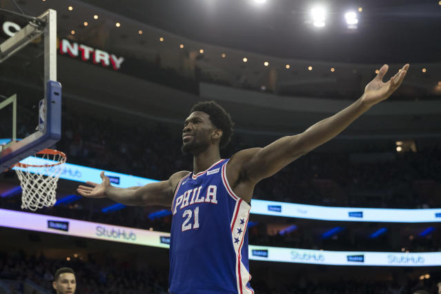 "<a class=""link rapid-noclick-resp"" href=""/nba/players/5294/"" data-ylk=""slk:Joel Embiid"">Joel Embiid</a> invites anyone who's mad to take the first swing. (Getty)"