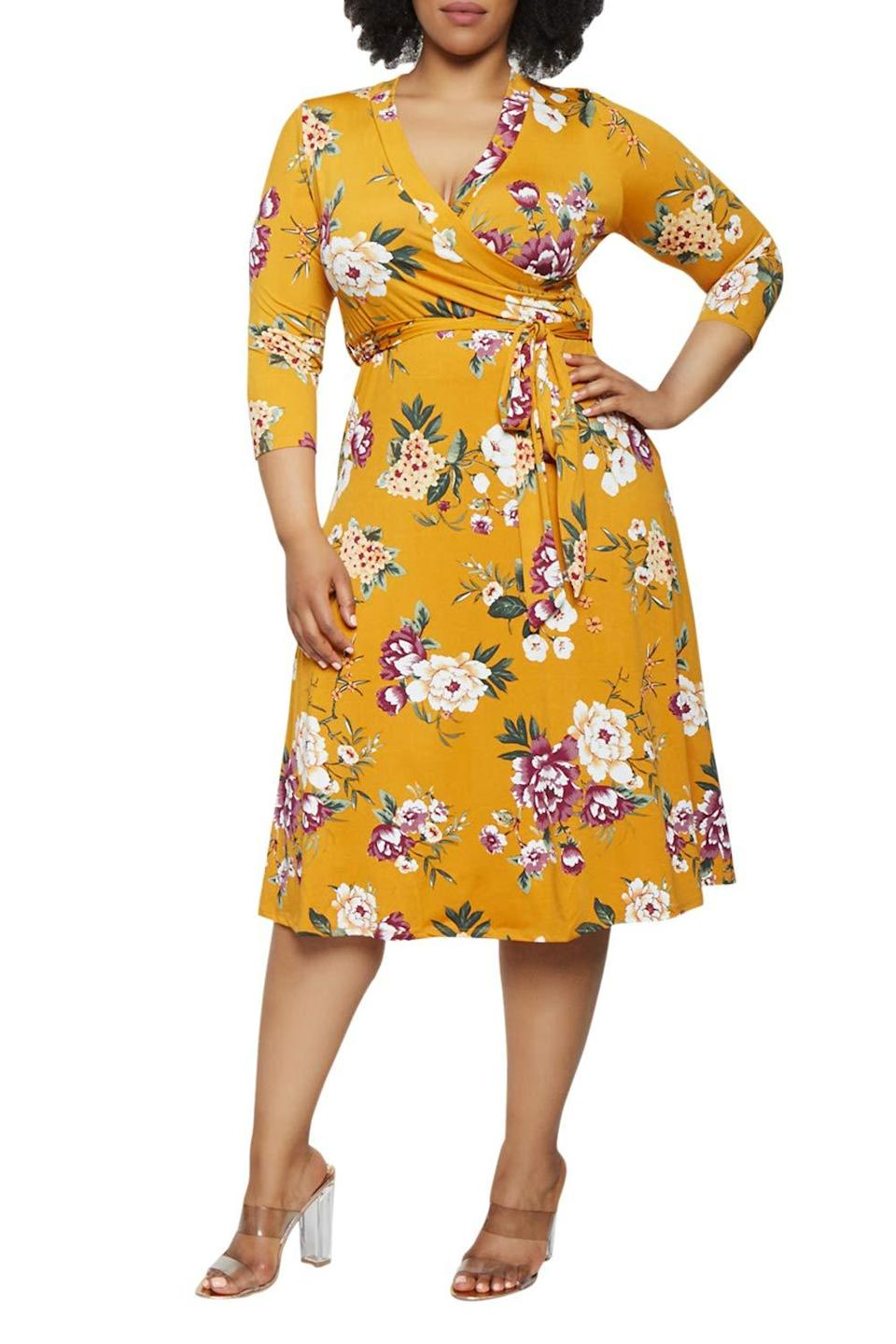 """<br><br><strong>Pink Queen</strong> Faux Wrap Floral Dress with Belt, $, available at <a href=""""https://amzn.to/2ZI5LJd"""" rel=""""nofollow noopener"""" target=""""_blank"""" data-ylk=""""slk:Amazon Fashion"""" class=""""link rapid-noclick-resp"""">Amazon Fashion</a>"""