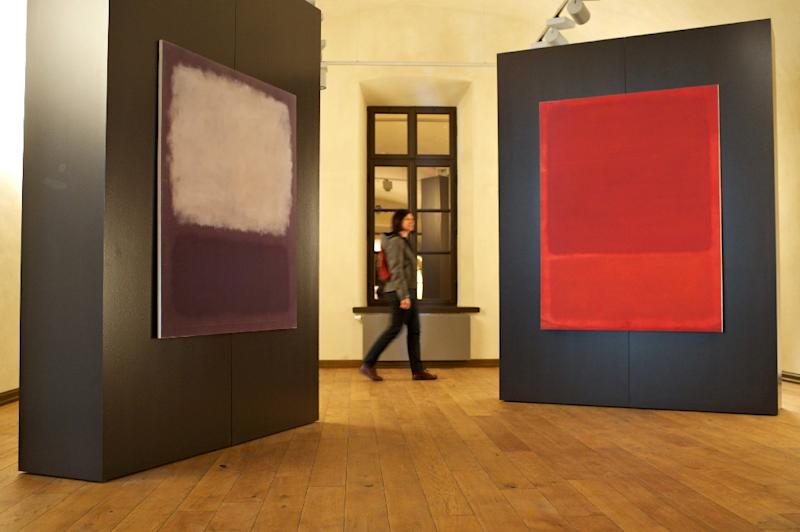 """A visitor walks through the Mark Rothko Center in Daugavpils, Latvia, a museum in the hometown of the artist whose painting """"No. 10"""" sold for $81.92 million at an auction of post-war and contemporary art at Christie's on May 13, 2015"""