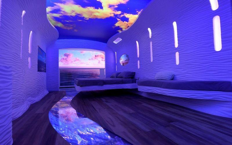 A mock-up of Royal Caribbean's 'cruise cabin of the future', unveiled in New York last week - Royal Caribbean International (RCI)