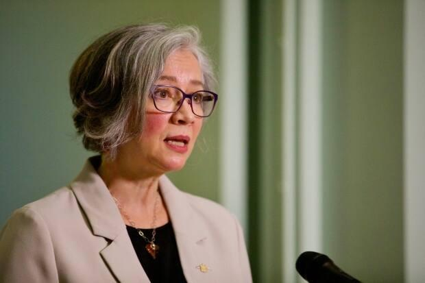 Jennifer Whiteside , B.C.'s minister of education at a news conference in Victoria in December 2020.