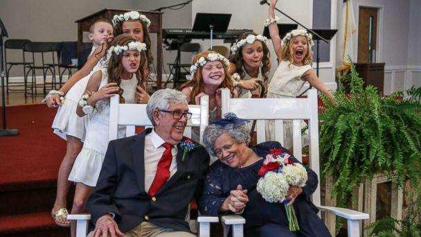 PHOTO: Teenage sweethearts Ed Sellers, 88, and Katie Smith, 89, tied the knot on July 16 in Stanley, N.C. (Shakermickel Photography)