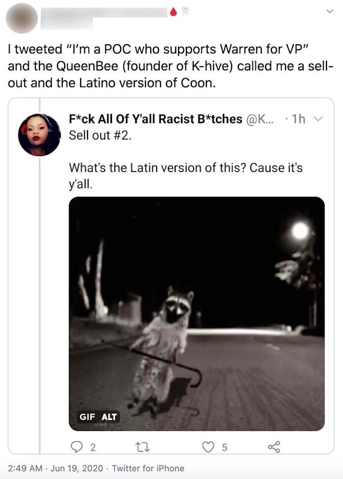 "Delarosa tweeted an image of a raccoon with the caption: ""What's the Latin version of this? Cause it's y'all."" ""Coon,"" when used by white people, is a derogatory term for Black people; when used by other people of color, it's often defined as a Black person who is ignorant of white supremacy. (Photo: Twitter)"