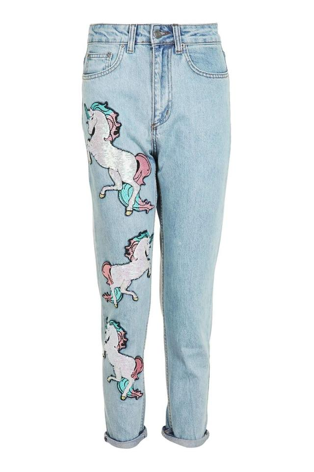 "<p><i><a href=""http://www.topshop.com/en/tsuk/product/sequin-unicorn-mom-jeans-by-kuccia-5942256?geoip=noredirect&cmpid=ppc_pla_UK_ip&utm_medium=cpc&tsrc=vdna&istCompanyId=38aa0d7f-6514-4cb3-bbdc-df0d32d48b7f&istItemId=xxalrpmlra&istBid=tztx&gclid=CPGsxfK06c8CFcYV0wodOcINQA&gclsrc=aw.ds"">Topshop, £65</a></i></p>"