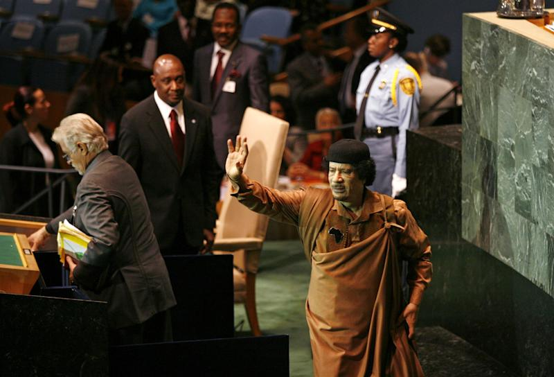 Libyan dictator Muammar Gaddafi at the United Nations general assembly in 2009: REUTERS