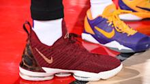 Why did LeBron James wear Cavs-colored shoes in his Lakers debut?