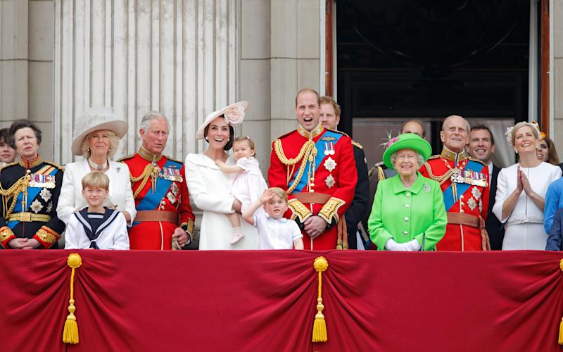 The Royal family enjoy Trooping the Colour ceremony in 2016 - Credit: Getty