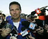 FILE - Florida NCAA college football head coach Urban Meyer talks to reporters after practice in Scottsdale, Ariz., ahead of the BCS Championship game against Ohio State, in this Jan. 8, 2007, file photo. A person familiar with the search says Urban Meyer and the Jacksonville Jaguars are working toward finalizing a deal to make him the team's next head coach. The person spoke to The Associated Press on the condition of anonymity Thursday, Jan. 14, 2021, because a formal agreement was not yet in place. (AP Photo/Ted S. Warren, File)