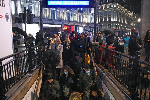 Busy scenes around Oxford Circus Underground station on Friday night