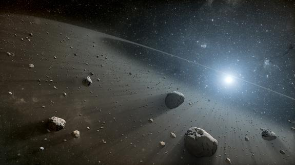 This artist's concept illustrates an asteroid belt around the bright star Vega.
