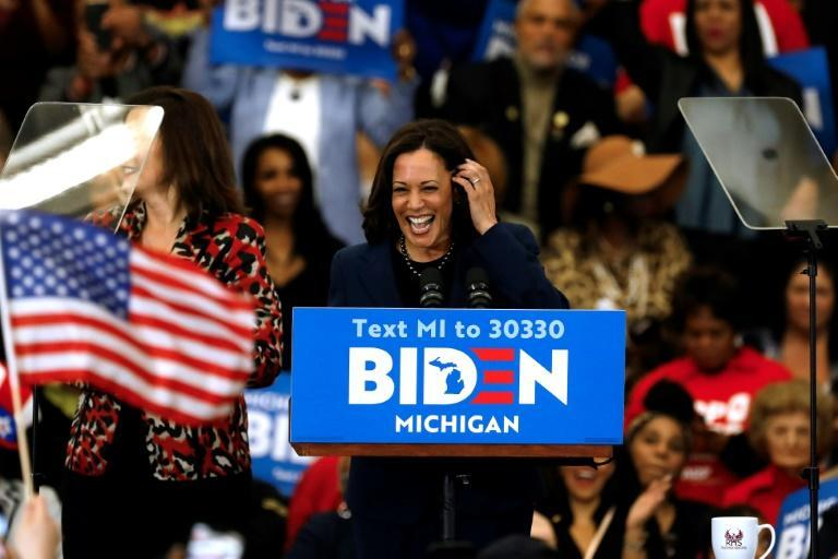 Bide seemed to imply he had an eye on former rival Kamala Harris, pictured, who had hoped to become the first black woman president