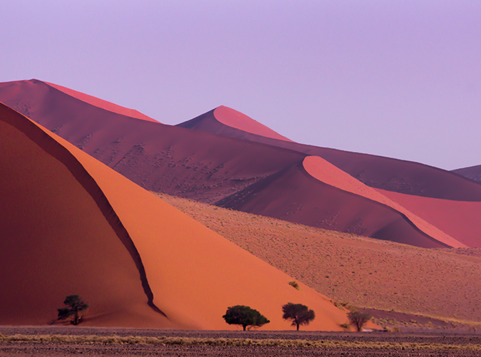 <p>This national park and nature reserve occupies part of the Namib Desert. Wild game like mountain zebras, ostriches and kudus roam over the red sand dunes.</p>