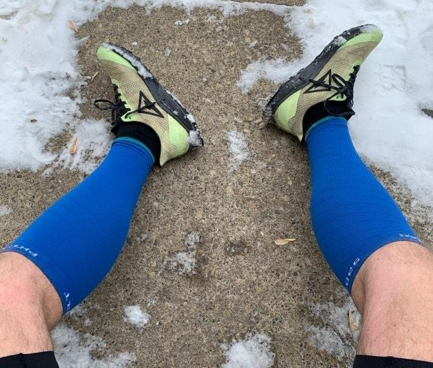 Gibby Davis took this photograph of his very sore feet after running 55 kilometres to finish his self-made 'Birkie Quad' challenge.