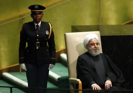 Iran's president Hassan Rouhani sits before addressing the 74th session of the United Nations General Assembly at U.N. headquarters in New York City, New York, U.S.