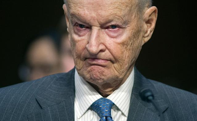 <p>Zbigniew Brzezinski, counselor and trustee, Center For Strategic And International Studies, testifies on Capitol Hill in Washington, Wednesday, Jan. 21, 2015, before the Senate Armed Services Committee's hearing to examine global challenges and U.S. national security strategy. (Photo: Cliff Owen/AP) </p>