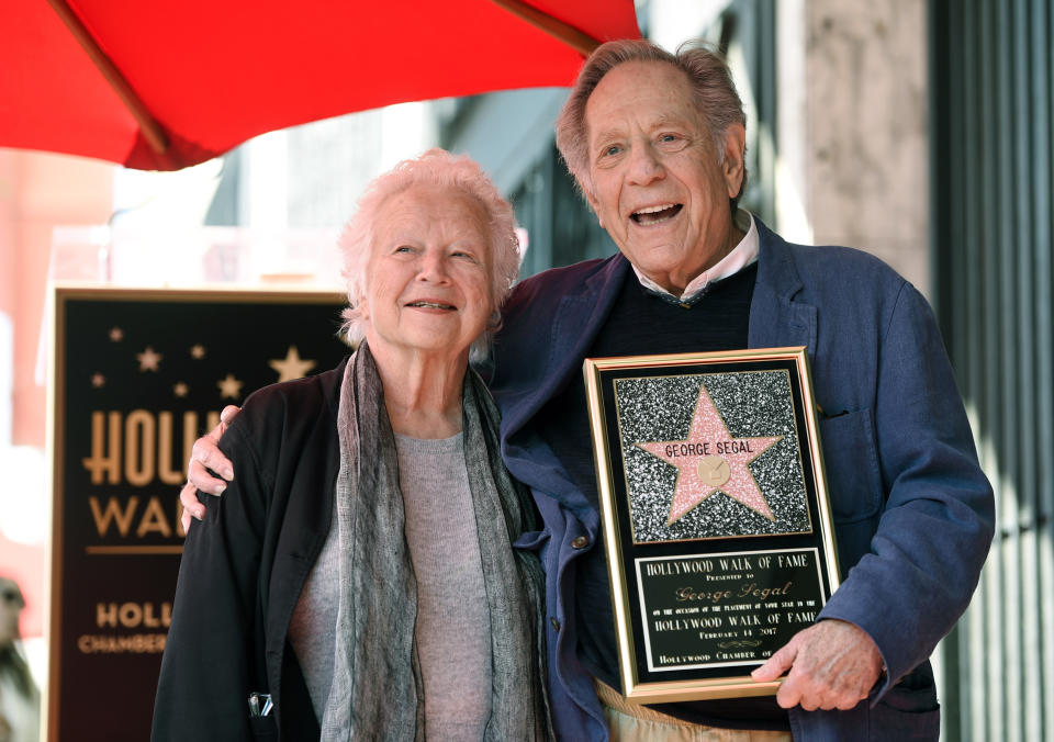Actor George Segal, right, poses with his wife Sonia during a ceremony honoring him with a star on the Hollywood Walk of Fame