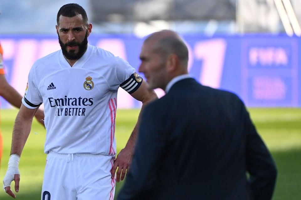 Karim Benzema and Zinedine Zidane at Real Madrid (AFP via Getty Images)