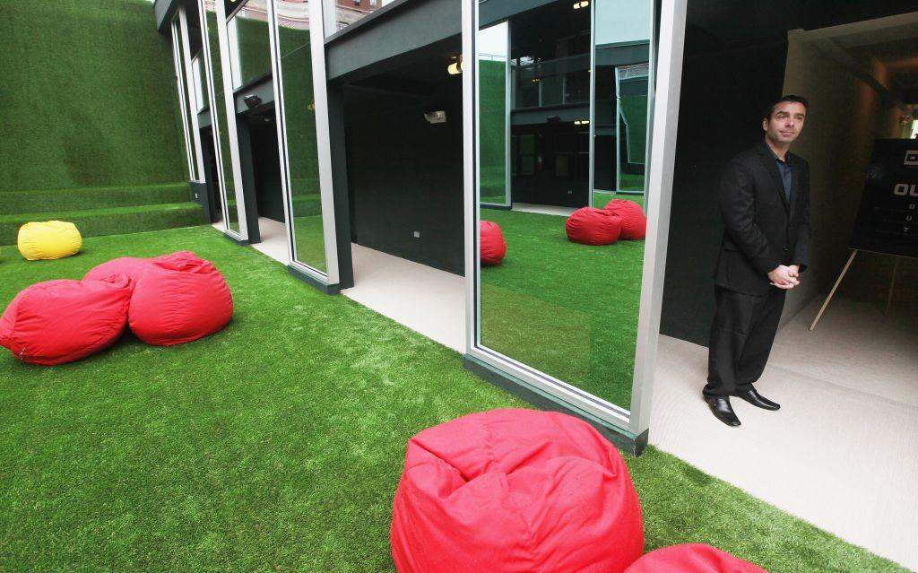 An outdoor space with beanbags is seen at THE OUT NYC, the city's first gay resort hotel. Public spaces at the hotel include a 5,000-foot wellness center and three courtyards -- one with a sunbathing deck, two hot tubs, and a cascading curtain of rain; another with a bamboo garden. There is also a 11,000-square-foot nightclub, named XL.