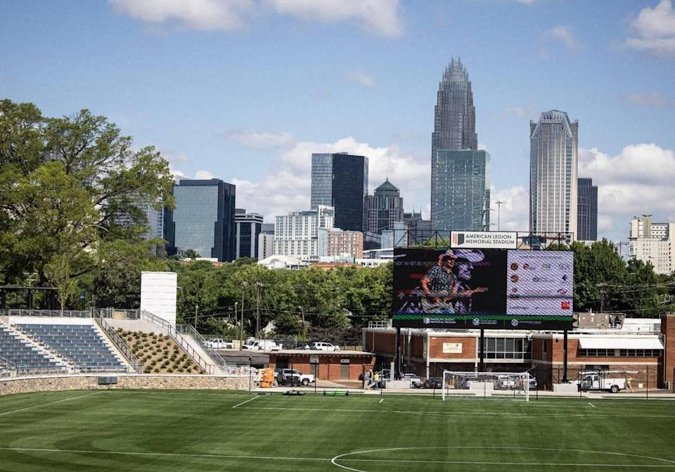 The new, $40.5 million American Legion Memorial Stadium still offers a great view of the uptown skyline on Wednesday, June 23, 2021 in Charlotte, N.C.
