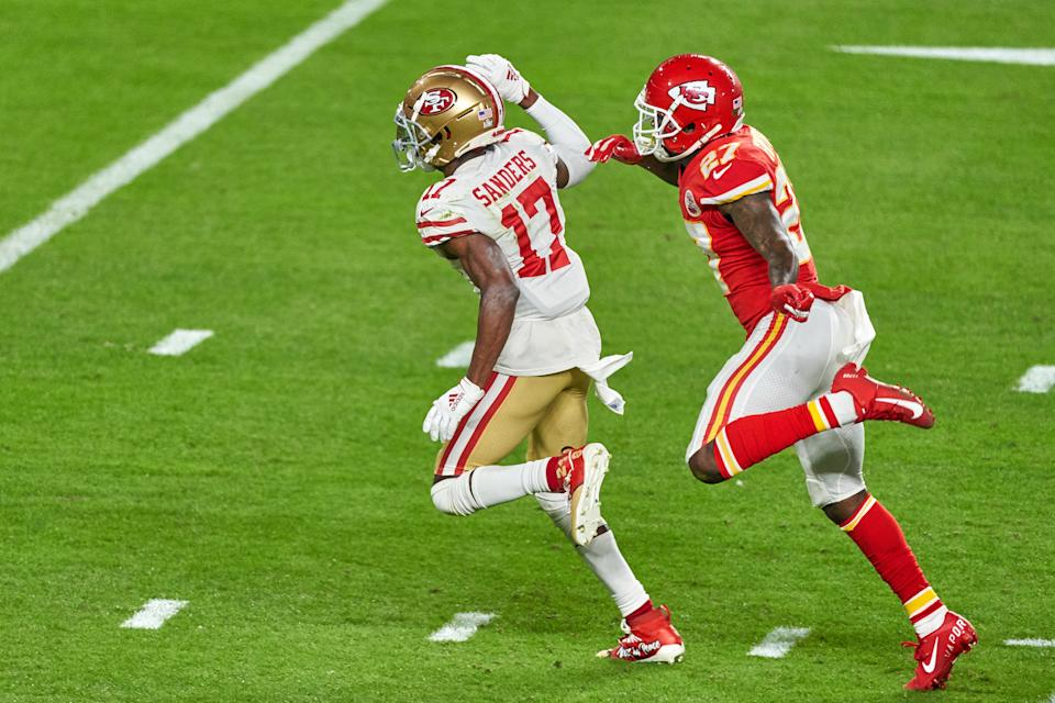 Emmanuel Sanders came close to etching himself into 49ers immortality during 2019, when he played 17 games across two franchies. (Photo by Robin Alam/Icon Sportswire via Getty Images)