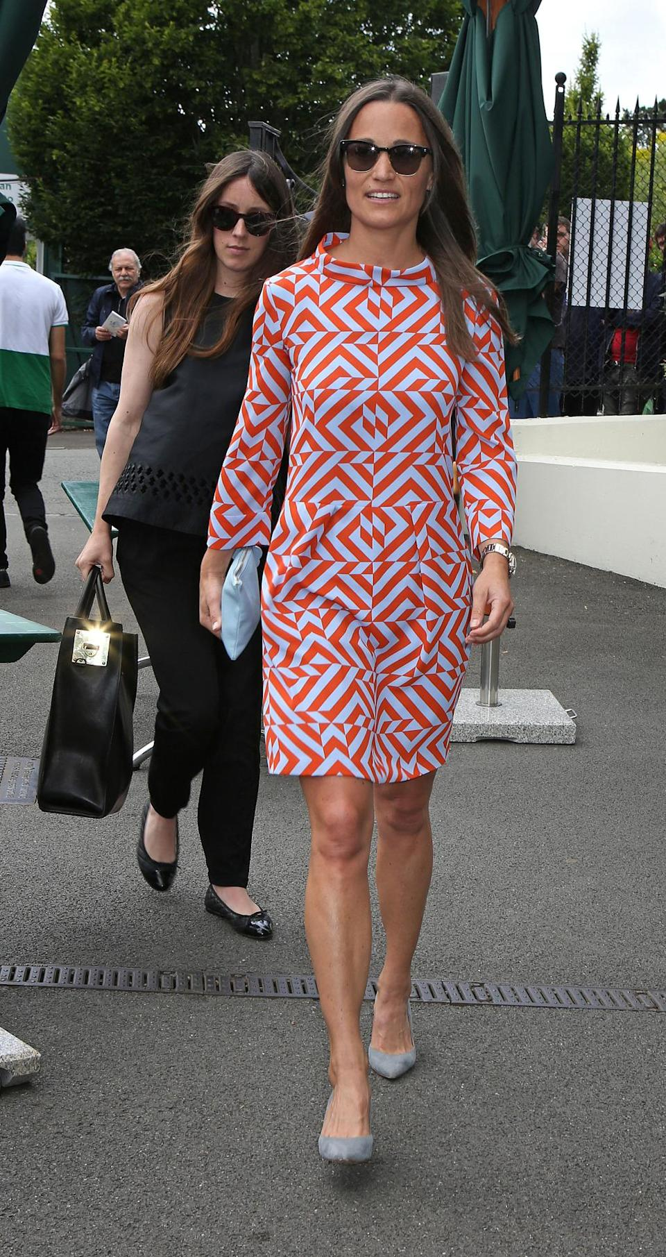 <p>This graphic print Tabitha Webb dress certainly stood out at the 2015 Wimbledon championship – a great look for the star who tends to stick to block colours. <i>[Photo: PA Images]</i> </p>