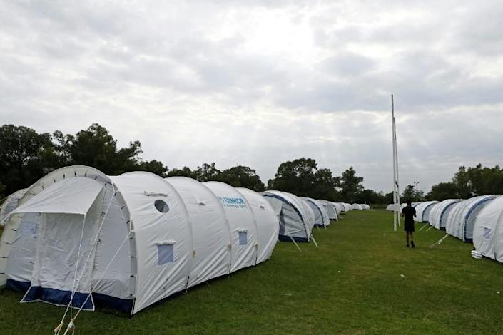 Tent city: Homeless people are being temporarily housed under canvas at the Pretoria West Rugby Stadium (AFP Photo/Phill Magakoe)