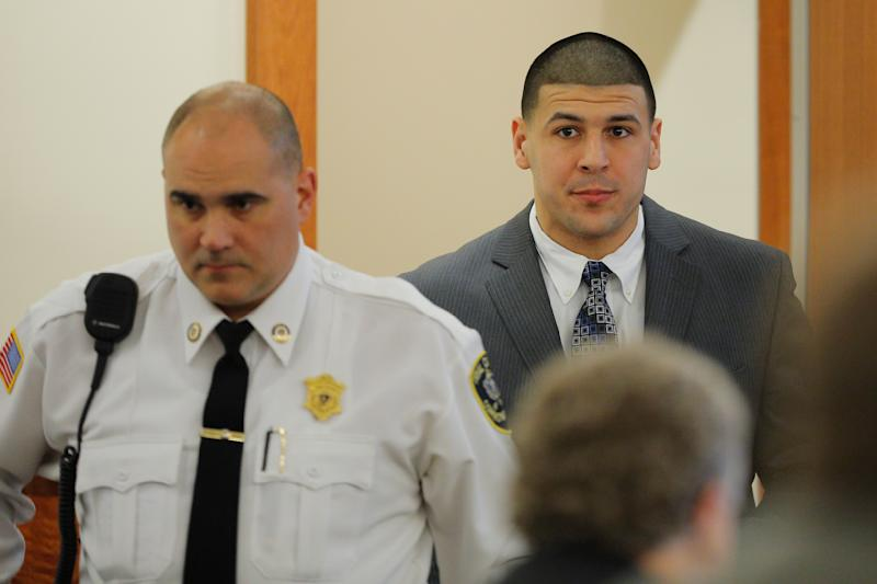 Former New England Patriots football player Aaron Hernandez arrives in the courtroom at Bristol County Superior Court in Fall River, Massachusetts, on April 1, 2015. (Brian Snyder / Reuters)