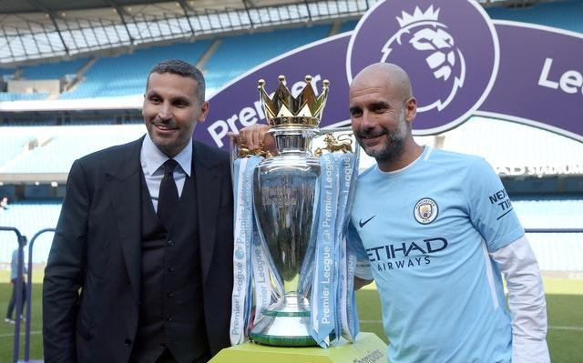 Khaldoon Al Mubarak (left) says his conversation with Guardiola (right) will be a natural one