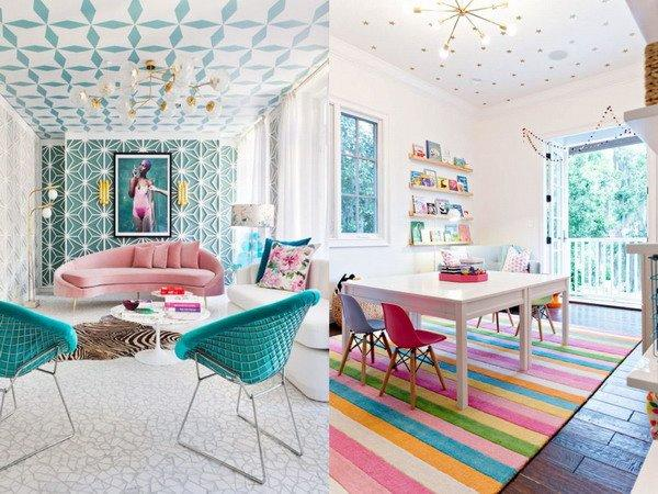 Spruce up your boring white ceilings with geometric patterns or colorful wallpaper.