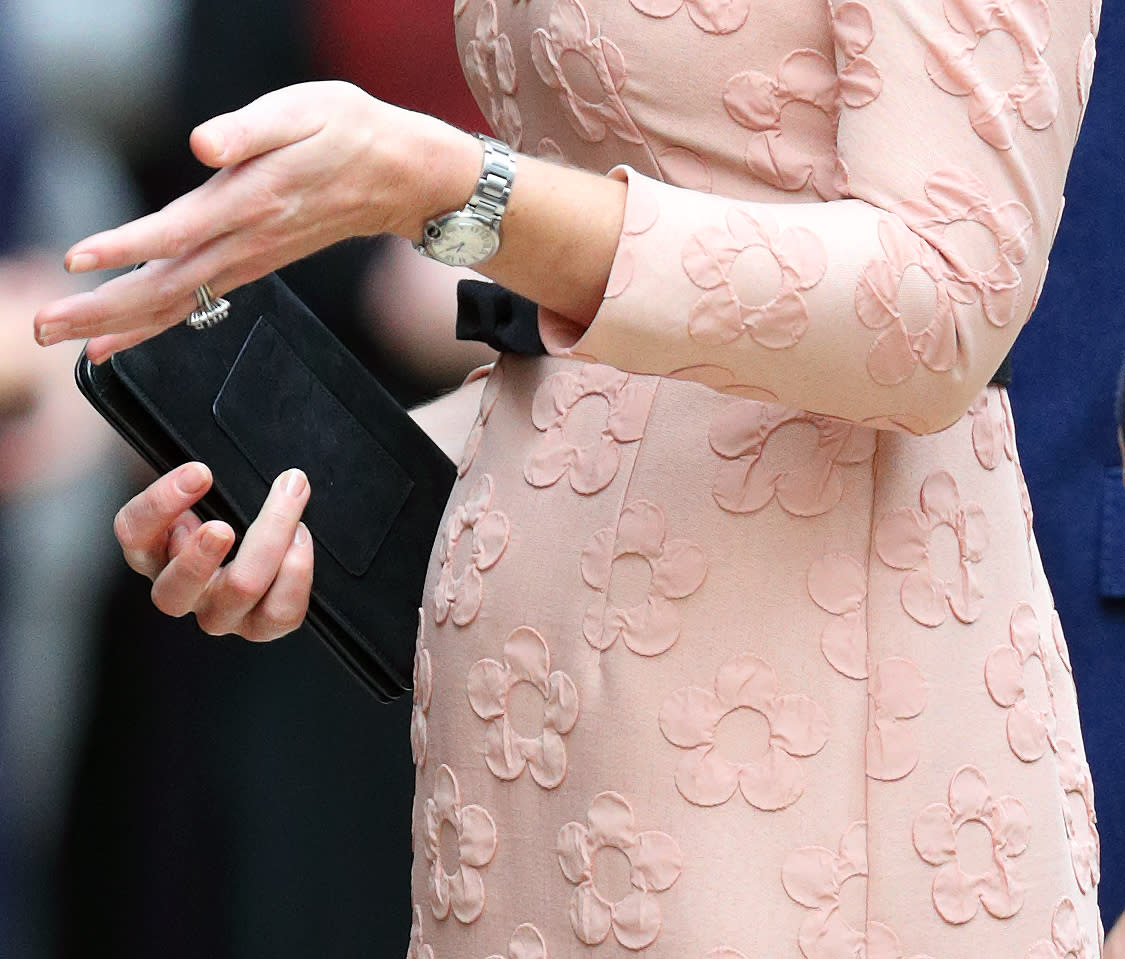 """Unless you're eagle-eyeing the royal family's hands, you might not notice that the women are never spotted with colored nail polish. According to <a rel=""""nofollow"""" href=""""http://stylecaster.com/beauty/kate-middleton-queen-elizabeth-royals-colored-nail-polish-rule/""""><em>OK!</em> magazine</a>, the royal family—particularly women like <strong>Kate Middleton</strong>, <strong>Queen Elizabeth</strong>, and now, <strong>Meghan Markle</strong>—are prohibited from wearing non-natural-looking nail polish, which is why they often stick to nude and taupe colors. In fact, according to <a rel=""""nofollow"""" href=""""http://www.refinery29.com/2017/10/177567/kate-middleton-nail-polish-royal-dress-code"""">Refinery29</a>, the royal women swear by Essie's $9 nude nail polish. Middleton's favorite shade is <a rel=""""nofollow"""" href=""""http://www.essie.com/colors/sheers/allure.aspx"""">Allure</a>, while The Queen is known to sport <a rel=""""nofollow"""" href=""""http://www.essie.com/colors/sheers/ballet-slippers.aspx"""">Ballet Slippers</a>. Only time will tell what Markle's go-to shade will be."""