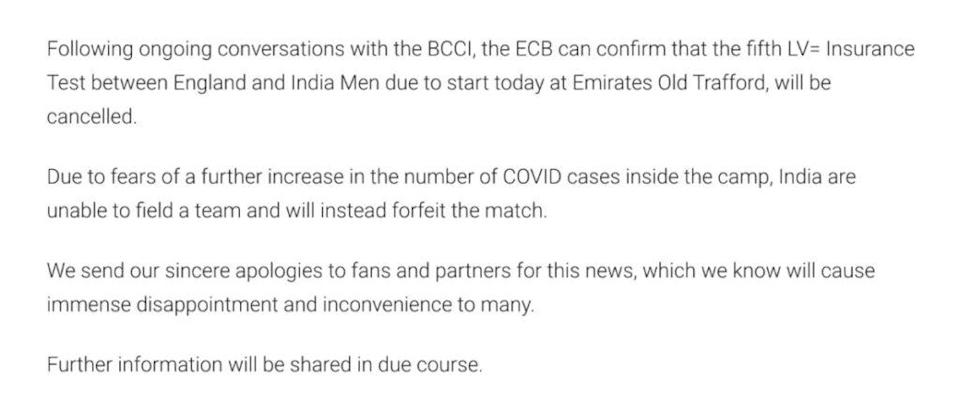 England vs India 2021: ECB Removes Statement Claiming India Forfeited The Match
