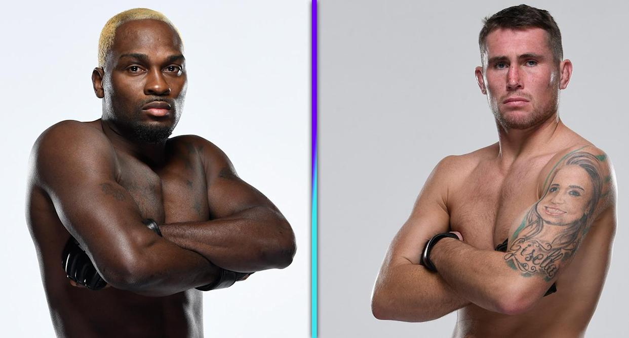 Derek Brunson (22-7) takes on Darren Till (18-3) on Saturday in the main event of UFC Vegas 36 at Apex. (Photos via Getty Images)