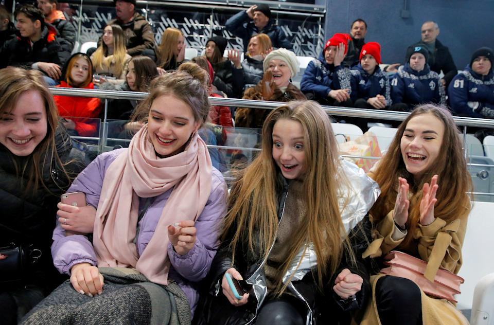 Fans pack the stands at a hockey game in Minsk, Belarus on March 30. (Reuters/Vasily Fedosenko)