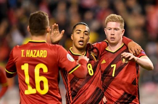 Belgium's Kevin De Bruyne (R) hit out at the format for Euro 2020 after his side beat Cyprus in their final qualifier on Tuesday