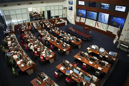 The California Drought Task Force works in the Cal OES State Operations Center in Mather