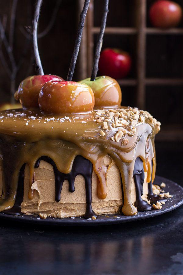 "<strong>Get the <a href=""http://www.halfbakedharvest.com/salted-caramel-apple-snickers-cake/"" target=""_blank"">Salted Caramel Apple Snickers Cake recipe</a> from Half Baked Harvest</strong>"