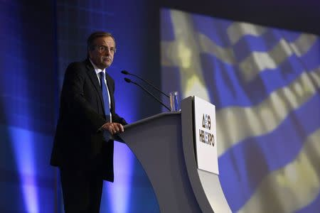Greece's Prime Minister Antonis Samaras delivers a speech at the opening of the annual Thessaloniki International Trade Fair in northern Greece September 6, 2014. REUTERS/Alkis Konstantinidis