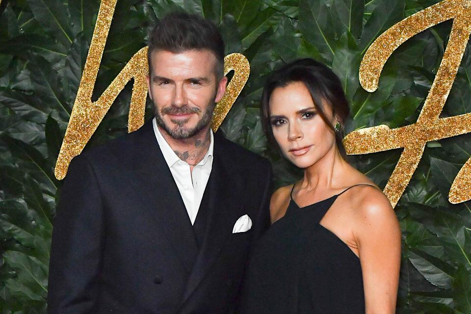 David Beckham and Victoria Beckham attend the Fashion Awards 2018 in partnership with Swarovski at Royal Albert Hall on December 10, 2018 in London, England.