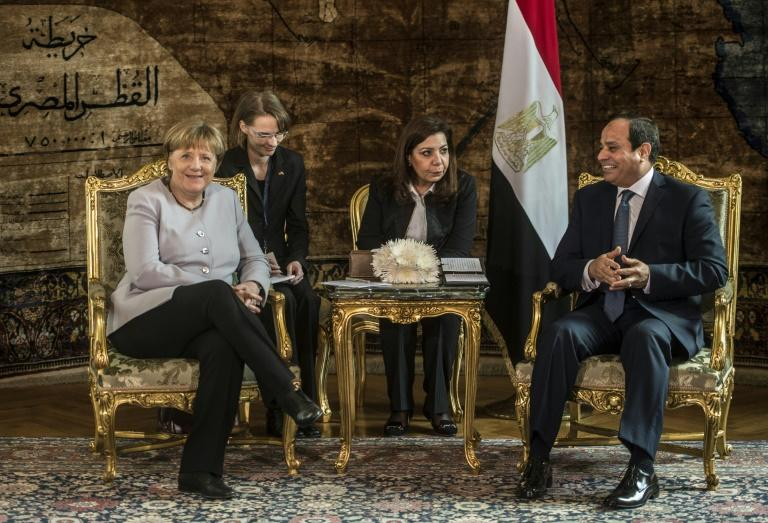 Egyptian President Abdel Fattah al-Sisi meets German Chancellor Angela Merkel in Cairo on March 2, 2017