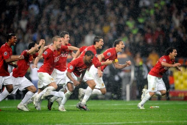 Manchester United players celebrate after Chelsea's Nicolas Anelka misses his penalty (Owen Humphreys/PA)